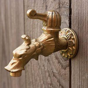 antikas–Robinet pour fontaine de jardin en laiton avec tête de dragon comme Antique