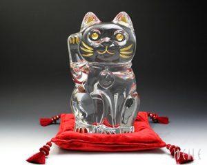 Baccara Grand Chat Maneki Neko Cristal Figurine 25,4cm de Hauteur