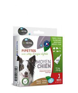 Biovetol – Pipettes Anti-puce pour Moyen chien (15kg à 30 kg) – 3x4ml