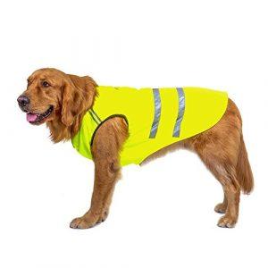 Bwiv Gilets de sécurité pour chiens Chat Manteau Protecteur de ventre Bande réfléchissante Épaississant en tissu avec un trou de laisse Vert Jaune S (longueur du dos 25cm, poitrine 36-40cm)