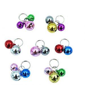 Collier pour chat Bells- 18pcs coloré Chien Chat Charm cloches pour colliers Collier Pendentif Accessoires avec lot de 20porte-clés