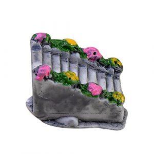 Cupcinu pont Pierre escaliers Jardin Féérique miniature Résine d'escalier avec fleurs plantes artificielles Ornement Dollhouse Plante DIY Accessoires (Gris), Résine, gris, 2cm