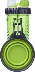 Dexas H-DuO with Companion Cup Green Both You & Dog Dual Hydration Water Bottle