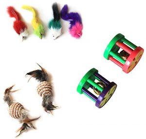 emblématique pour animal domestique fourrure souris papier Corde Boule et plastique Roller jouet pour chat, Lot de 8