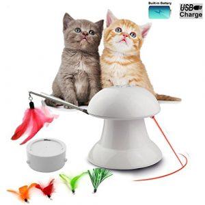 FIRIK Jouet pour Chat Electronique Automatique Interactif avec Plume à Chat et Point de Lumière Rouge – Rechargeable par USB