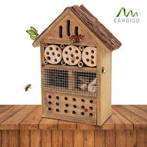 Gardigo 90538 – Hôtel à Insectes en Bois Naturel/Bambou; Refuge pour Hibernation/Nidification; Maison, Abri, Nichoir à Coccinelle Abeilles Papillons Guêpes; Facile à suspendre – Idée cadeau