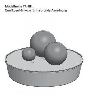 gartenmetall Fontaine boule en acier Corten Trilogie Tahiti