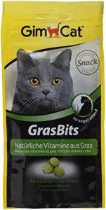 GimCat GrasBits – Friandises pour Chat, à Base d'herbe à Chat – sans Sucre ajouté – Riche en Fibres et en vitamines – Sachet DE 40 g