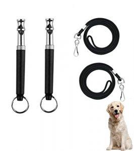 Giveet Sifflet pour arrêter d'Aboyer – fréquence réglable à ultrasons anti-aboiement Outil d'entraînement pour chiens – avec gratuit Lanière Sangle (lot de 2)