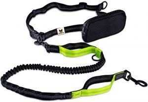 Laisse de jogging – Laisse pour chiens réfléchissante et élastique de 120 cm (extensible jusqu'à 200 cm), avec ceinture abdominale en nylon anti-déchirures et sac de taille réglable – Idéale pour vos séances de jogging, de marche ou pour vos randonnées mains-libres