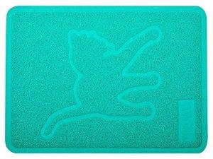 Tapis de bac à litière Chat, Litière pour chat Tapis, Paillasson, forme rectangulaire, 48,3x 35,6cm, turquoise