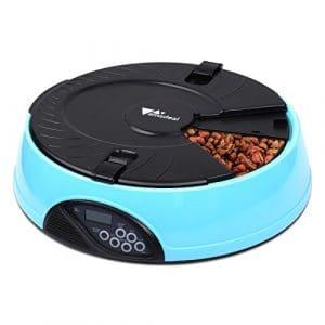 Amzdeal Distributeur Automatique de Croquettes pour 6 Repas – Distributeur de Croquettes pour Chat et Chien avec Rappel Vocal et Minuterie Programmable à LCD Écran