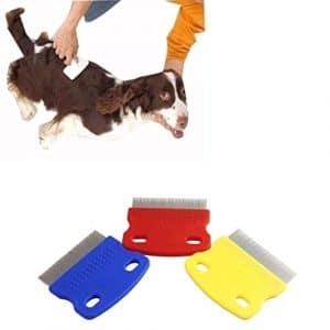 Artistic9(TM) Nouveau Design chat chien Toilettage Acier Petite Denture fine Peigne anti-puce pour animal domestique–Couleur aléatoire