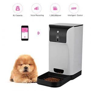 Decdeal Distributeur Automatique Pet Feeder Food Distributeur 6L Stockage avec Caméra Enregistreur Vocal Wifi Connexion Compatible pour IOS / Android