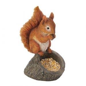 Garden Décor Rouge écureuil Mangeoire à Oiseaux Statue Figure Figurine de graines DE 33cm de Hauteur Jardin Cour Patio