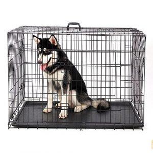 Hu Pliable Cage Double Porte en 2Côtés Pliable Pet Cage avec Plateau en ABS Facile à Installer avec 4Tailles W ~ L