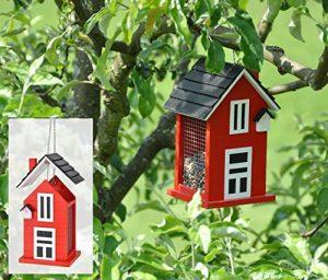 Jardinion Voliere en bois avec mangeoire pour oiseaux, rouge, decoration a accrocher dans le jardin Rouge/ Noir STK