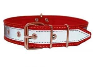 De haute qualité en cuir véritable collier réfléchissant pour chien 68,6cm Long 4,1cm de large rouge pour 49,5cm -23.5«cou
