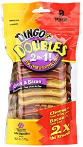 Dingo double 2 en 1 Fromage et bacon friandises (lot de 9), S/M