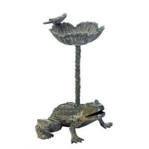 Garden Décor Leap Frog Birdbath Dispose d'un Petit Oiseau Sculpture sur Le Dessus Superbe Accent Neuf