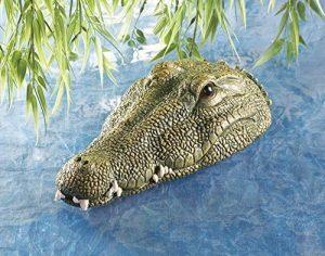 Garden Mile réaliste flottant Crocodile tête eau fonction décoration jardin, ALLIGATOR tête chat deterrant jardin décoration oiseau deterrant étang décoration