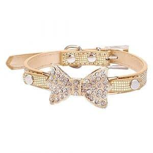 GODHL Animaux de compagnie accessoires collier avec brillant Bow Strass pour chiens ou chats (Golden, S)