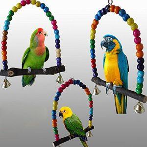 housesweet Wood Swing Parrot Cage Toys Jouet pour Oiseau Finch Perruche calopsitte élégante inséparables Rainbow Bridge