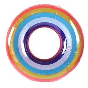 huichang Arc-en-Ciel Donut Bouée Matelas Gonflable Flottant pour Piscine Piscine Gonflable pour Le Bain