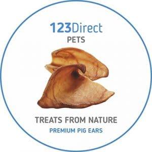 Premium | Bien-être | Paquet de 50 grandes oreilles de porc séchées | Récompense et friandise à mastiquer pour chien, crue et naturelle par 123 Direct Pets | En provenance de l'EU | PAS une importation chinoise de mauvaise qualité !