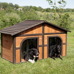 Produits Merry Merry Products Tache Sombre Duplex Dog Maison avec Gratuit, Portes, Bois, Extra Large