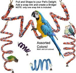 Rainbow Spirale Corde en Coton Oiseau Perchoir avec Bell–Un Jouet Préféré pour de Nombreuses Les perroquets Qui Fournit Aussi Un Excellent Exercice, Small, Coloris Assortis