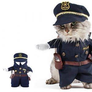 UEETEK Funny Dog Cat Jeans uniformes vêtements pour animaux de compagnie Costume Robe Cosplay pour fête carnaval, taille M (à moins de 10kg)