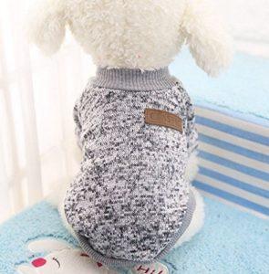 Vêtement qui tient chaud pour les petits chiens en hiver, chandail de coton, bien chaude et toute douce, vêtement indispensable pour un hiver bien au chaud–Gris, L