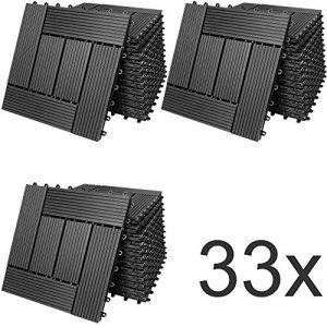 33x Dalles de Terrasse en Bois Composite WPC Mosaïque Anthracite 30x30cm Jardin