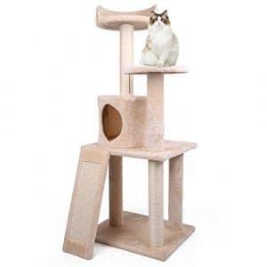 Arbres à chat Poteau à Griffes recouvert de sisal, Multi-Levier, perchoirs en Peluche, Centre d'activités Tour à Chat pour Chatons, Chats et Animaux de Compagnie