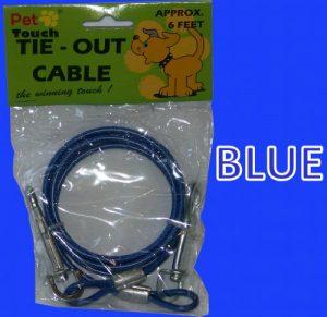 Bleu pour Chien Animaux Pet Jardin de hors sol Câble spirale à vis en plomb métallique solide