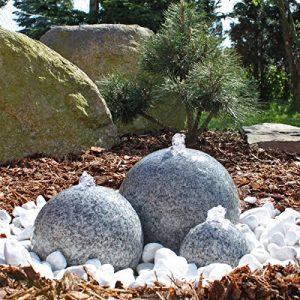 CLGarden SB1 Fontaine sphère 3 pièces en granite, Belle fontaine de boule de granit avec l'éclairage de LED, les trois boules sont minutieusement polies