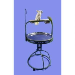 Deluxe support de jeu pour oiseau avec perchoir en bois Couleur: platine