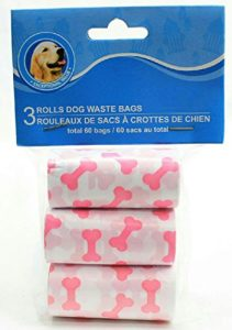 Disposable Pet Waste Bags (White with Pink Puppy Bones) by Greenbrier