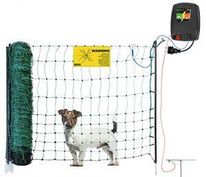 DogFence Midi Clôture complète pour petits chiens et chats – avec filet à mailles particulièrement étroites – pas de ventilation possible – le filet peut être raccourci et également élargi – Clôture pour chien / chat
