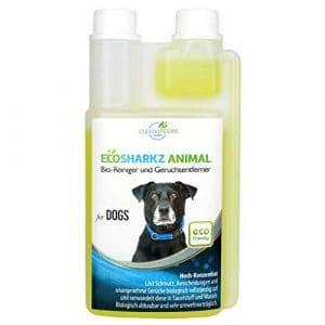 Ecosharkz neutralisant de mauvaises odeurs pour chiens – désodorisant naturel – concentré à haut débit pour éliminer l'odeur d'urine (jusqu'à 25L de solution nettoyante)