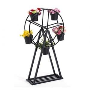 Étagère de mode XXGI Creative Fleur Stand Rotary Ferris Roue Fleur En Fer Forgé Fleur Stand Intérieur Succulent Plante Pot Fleur Stand (60 * 25 * 105 Cm)
