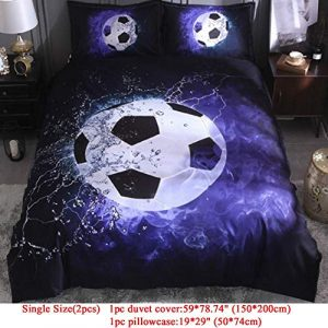 fanfr 2PCS/3PCS Soccer Duvet Cover Sets 3D Football Printed Bedding Set Single Double Full Queen King Home Textile (Including Duvet Cover + Pillowcases) Feuilles