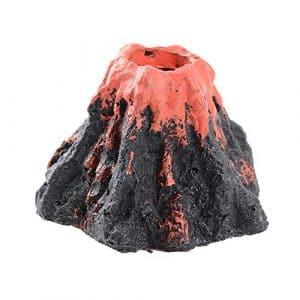 FLOFIA Volcan Décoration d'Aquarium Artificielle en Résine Réservoir de Poissons avec Pumite Air Bulle Fish Tank Rocher Ornament Volcanique