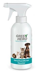 Green Hero® – Spray désodorisant pour chat, chien et rongeurs, 500ml, 100% Naturel, sans substance néfaste à l'environnement et parfum, doux pour la peau