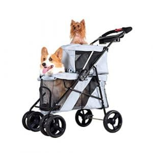 IW.HLMF Chariot de Chien de Voiture de Chat de Double-Couche Chariot de Voiture Pliable de mère-Voiture,Gray