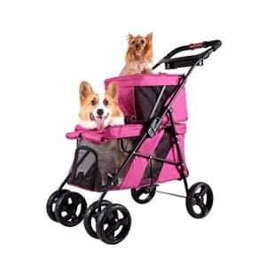 IW.HLMF Chariot de Chien de Voiture de Chat de Double-Couche Chariot de Voiture Pliable de mère-Voiture,Pink