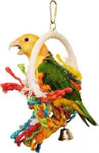 Preen & Swing Jouet pour Oiseau–stimule la Saine d'exercice et Satisfont à Une Version lissant Ses Plumes d'oiseau Instinct, 7″ dia – Cockatiel Conure Lovebird, Multicolore