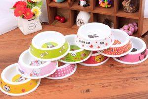 RFGTYBDD Pratique Chien en Plastique pour Animaux de Compagnie Chien Chat Vaisselle Multicolore Mignon Chien Bol (aléatoire)
