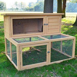 Zooprimus Cage Clapier Enclos Lapin Extérieur en Bois Haute Qualité pour Lapins 126 x 88 x 90 cm Modèle 050 Vacances